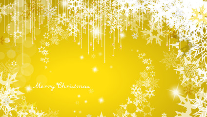 Christmas background with snowflakes and simple Merry Christmas text - yellow version