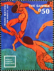 Detail from The dance II by Matisse on postage stamp