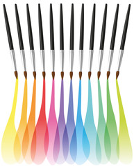 Paintbrushes painting colorful rainbow colored merging brushstrokes. Isolated vector illustration on white background.