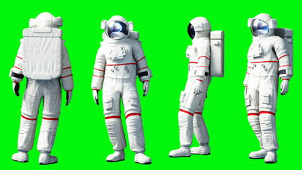 Astronaut stay idle . Green screen. 3d rendering.