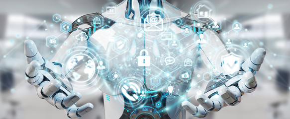 White man robot using cyber security data interface 3D rendering