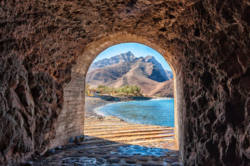 Access tunnel to the beautiful LA Aldea beach in Gran Canaria