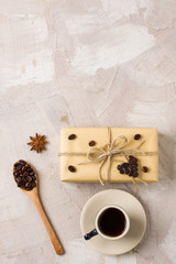 Coffee cup craft gift box spoon with coffee beans anise