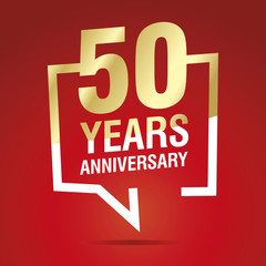 50 Years Anniversary celebrating gold white red logo icon
