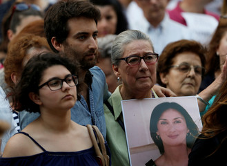 Matthew Caruana Galizia, son of assassinated investigative journalist Daphne Caruana Galizia, and her mother Rose Vella attend a vigil and demonstration marking eight months since her murder in a car bomb, in Valletta