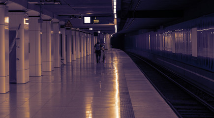 The subway station in neon light