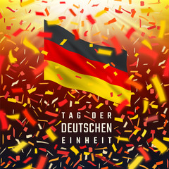 Germany Independence Day card with flag, confetti