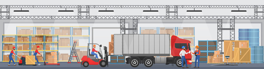 Vector Warehouse interior with workers arranging goods on the shelves and dip boxes into a truck. Warehouse modern interior wirh cargo truck. Wall mural