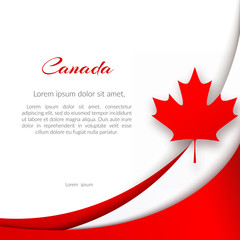 Patriotic poster with the theme Canada flag Wavy red lines and a maple leaf on a white background National patriotic symbol Canadian background for the design of cards posters for Canada Day Vector