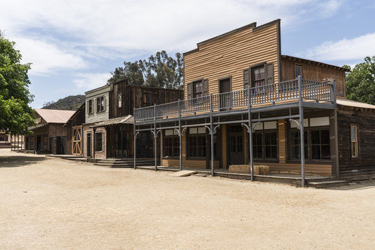 Historic movie set street owned by US National Park Service in the Santa Monica Mountains National Recreation Area.