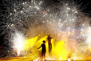 Artists perform during Festival of Fire Theaters at the Museum complex of ancient crafts and technologies Dudutki