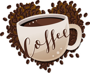 """Cup of coffee with """"Coffee"""" in script text overlayed on top against a pile of coffee beans in the shape of a heart."""