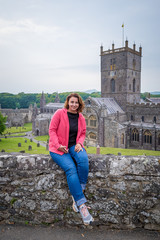 Woman in St Davids cathedral in Wales