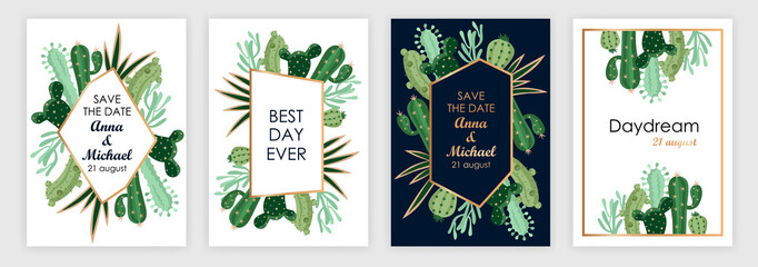 templates of wedding invitations with cartoon cacti. covers set. vector illustration
