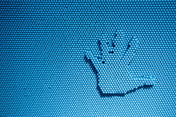 abstract imprint stop hand on blue toy shape for background