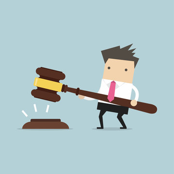 Businessman hold a big gavel in hands for justice. vector