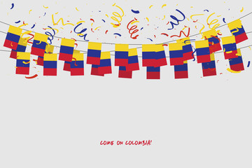 Colombia garland flag with confetti on gray background, Hang bunting for Colombia celebration template banner. vector