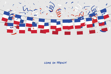 France garland flag with confetti on gray background, Hang bunting for French celebration template banner. vector