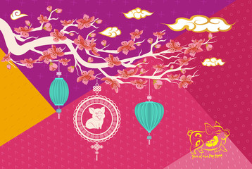 2019 Chinese Greeting Card with cherry blossom Flowers on Geometric Background. Zodiac Pig, Happy New Year