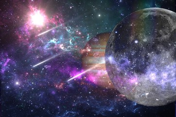 Planets and galaxies, science fiction wallpaper. Beauty of deep space. Billions of galaxies in the...