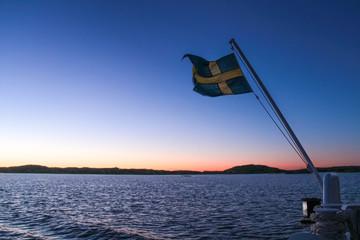 Sweden flag on a boat
