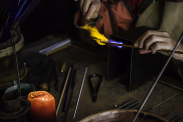 Blowing glass in a traditional way