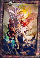 Photo sur Plexiglas Imagination Saint Michael the Archangel, sacred image of ancient art, devotional people