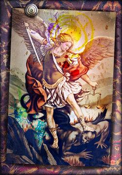 Saint Michael the Archangel, sacred image of ancient art, devotional people