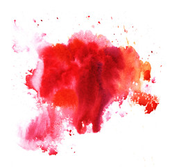 A bright red formless watercolor blot. Watercolor illustration of a hand drawn on paper