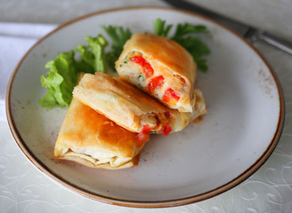 Photo of macro delicious rolls with vegetables