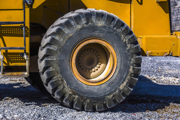 Wheel on tractor at a construction site