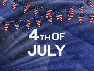 4th of July, american independence day celebration background with flag of the USA. Vector illustration.