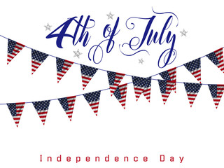 4th of July, american independence day celebration background with silver star and flag of the USA. Vector illustration.