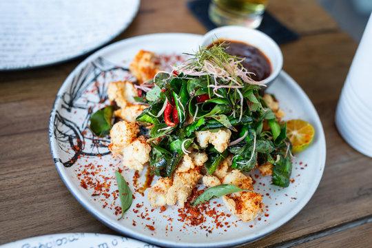 Fried calamari with curry leaves and chilli, Seminyak, Bali