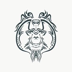 Ornamental tattoo orangutan head. Abstract hand drawn style