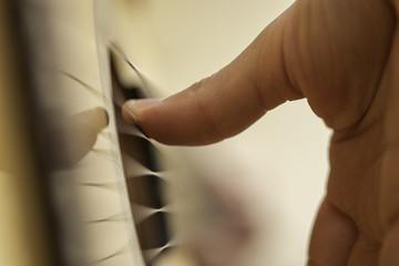 Playing flamenco guitar.