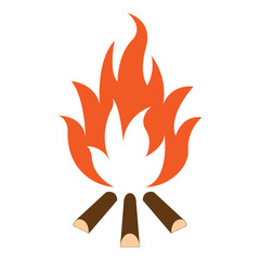 Campfire and firewood. Vector illustration.