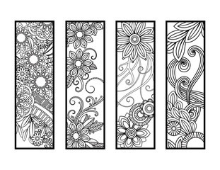 4f6c2a8fe6 Set of four bookmarks in black and white. Doodles flowers and ornaments for  adult coloring