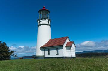 Cape Blanco Lighthouse on a beautiful sunny day near Bandon on the Oregon Coast
