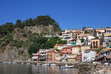 castle and colorful buildings Parga Greece