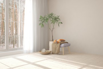 White room with sofa and forest landscape in window. Scandinavian interior design. 3D illustration