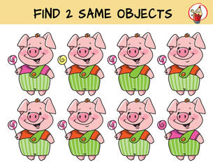Funny little pig with lollipop. Find two same pictures. Educational matching game for children. Cartoon vector illustration