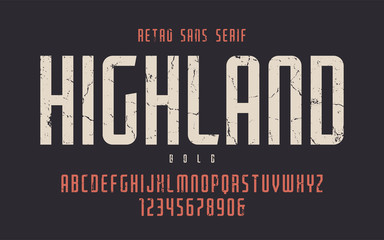 Highland vector condensed bold retro typeface, uppercase letters