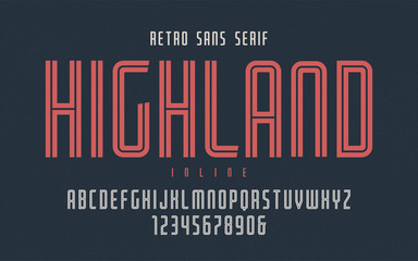 Highland vector condensed inline retro typeface, uppercase lette