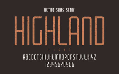 Highland vector condensed light retro typeface, uppercase letter