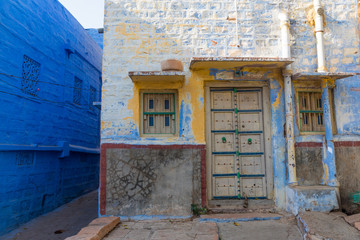 Streets in the Jodhpur. Blue city. Abstract. Rajasthan, India. Blue houses, background. Bright blue streets and walls. Popular tourist city in India. Indian style.