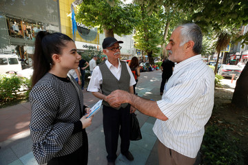 Elif Our Bayram, a candidate for Turkish President Erdogan's ruling AK Party in the June 24 parliamentary election, is seen during an election campaign in Izmit