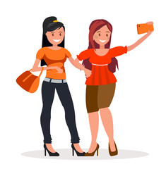 Two girls girlfriends are doing selfie