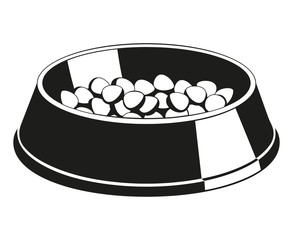 Black and white pet food bowl silhouette