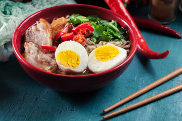 Ramen. Traditional japanese noodle soup with pork